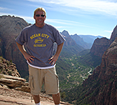 Dr Kardovich hiking at Zion National Park