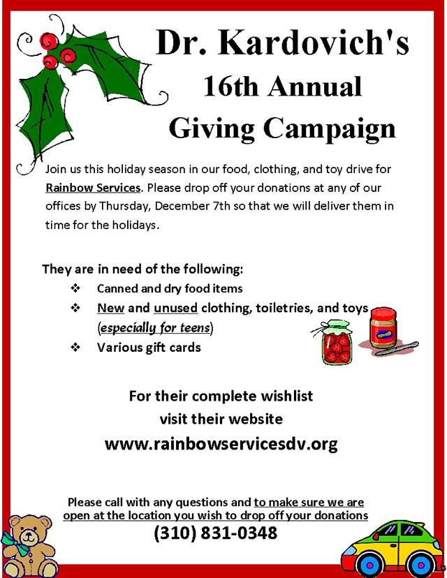 Dr. Kardovich's 16th Annual Giving Campaign