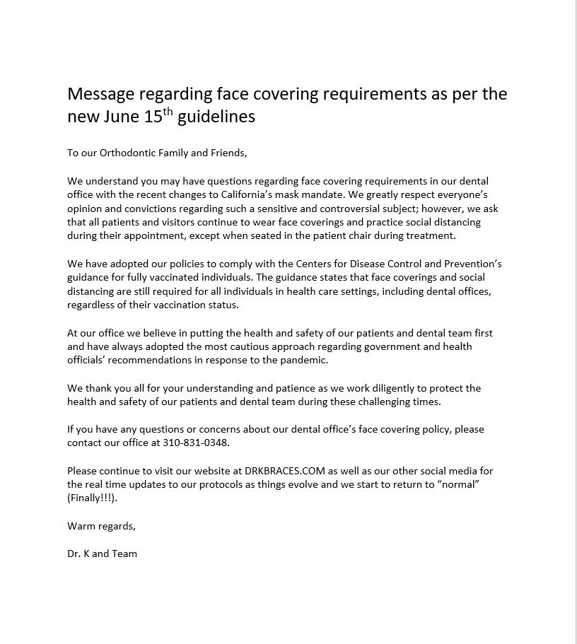 letter about Face mask