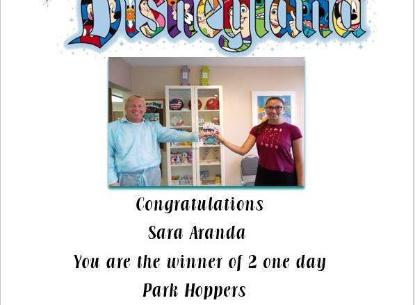 Winner Disneyland Congratulations Sara Aranda You are the winner of 2 one day Park Hoppers
